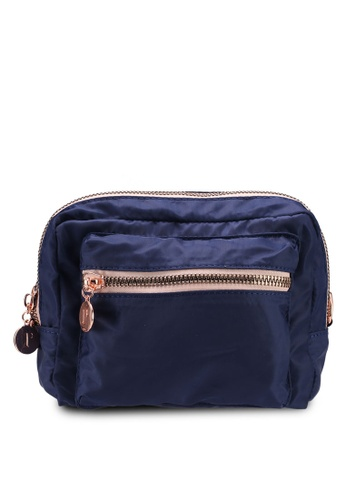 Rubi blue and navy Budapest Large Cosmetic Case 885BCACABF7E89GS_1