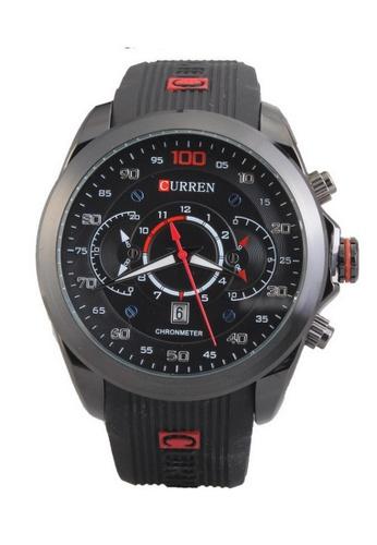 curren black Curren 8166 Men's Sporty Rubber Strap Watch (Full Black) CU537AC21SZAMY_1