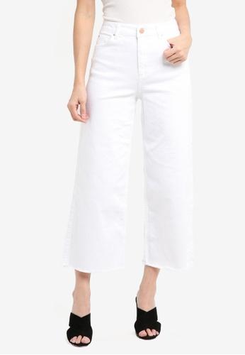 Miss Selfridge white White Crop Wide Leg Jeans 7359AAAB9ECD12GS_1