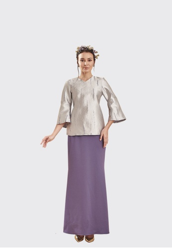 Zoey Modern Kurung Kedah from Nadjwazo by LadyQomash in Grey and Purple and Silver
