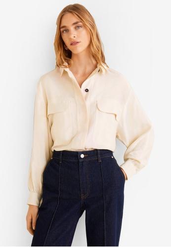 Mango beige Chest-Pocket Soft Shirt FA4D4AA3B94714GS_1