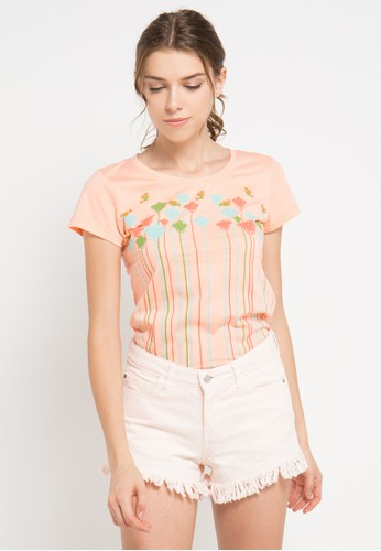 MEIJI-JOY orange and multi Print My Garden short sleeve Tshirt ME642AA0VRK9ID_1