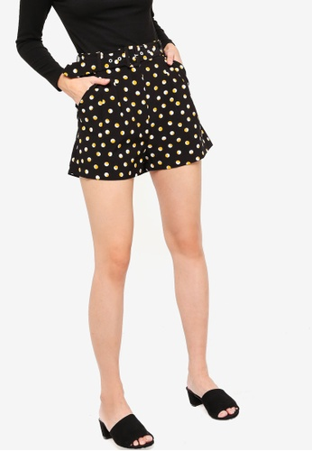 Something Borrowed black and yellow High Waist Shorts With Belt BDD2FAA8F8C7D3GS_1