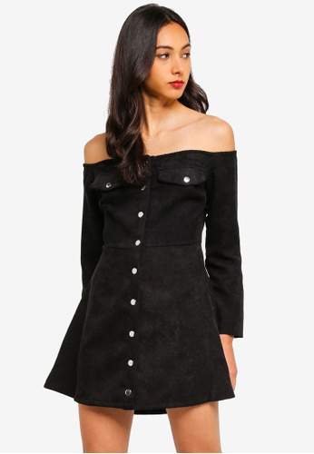 53f806bd45 Shop MISSGUIDED Petite Cord Button Front Bardot Dress Online on ZALORA  Philippines