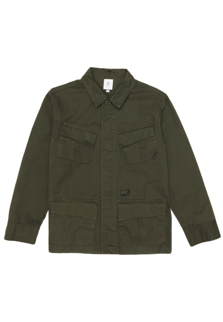 Overshirt Distressed in for Olive Utility Olive Arcade A 5ffxqgT