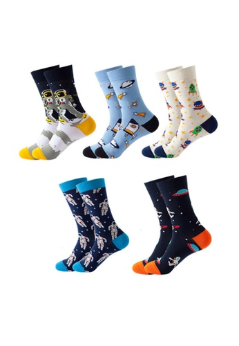 Kings Collection black Set of 5 Pairs Pattern Cozy Socks (One Size) (HS202164-168) DFE09AA3BF55C3GS_1