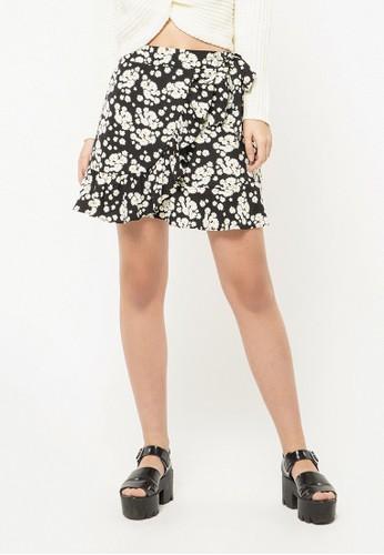 COLORBOX black Wrap Floral Skirt 6CF0CAAE0526AFGS_1