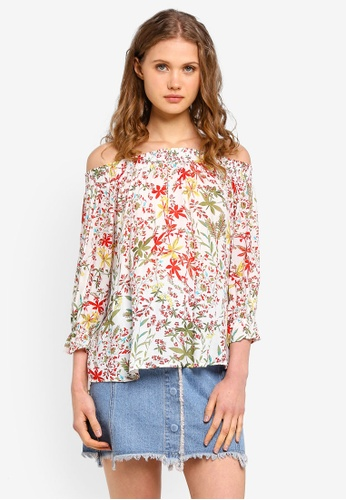 ESPRIT white Floral 3/4 Woven Sleeve Blouse 3CB6BAA6EE8949GS_1