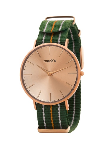 Massa Collections multi Grace Female Rose Rose w/ Army Green Nato Quartz Watch F5CF3ACCAE8341GS_1