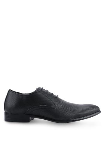 UniqTee black Round Toe Textured Oxford Dress Shoes BD594SH7B03B0AGS_1