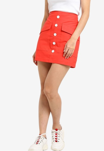 Something Borrowed red Button Down Patch Pocket Mini Skirt 03C95AA8E06B3CGS_1