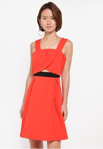 ZALORA red Pleated Crop Top Dress CB1FDAA06D9DB1GS_1