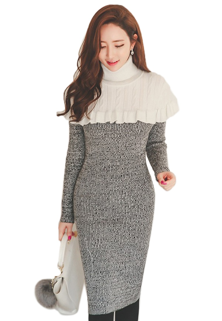 Ruffle 2018 Piece Dress CA011702 Neck Sunnydaysweety Grey One Grey New Mini Roll B4x4wIOqA