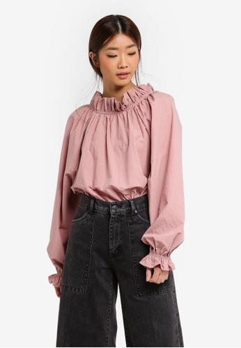 Stylenanda pink Frill Edge Top 9A21AAAC60C5D4GS_1
