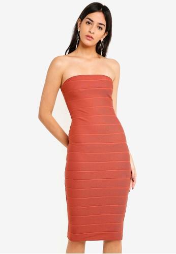 0fec1e3e12285 MISSGUIDED pink Bandeau Bandage Midi Dress CDBF1AAFE61164GS 1