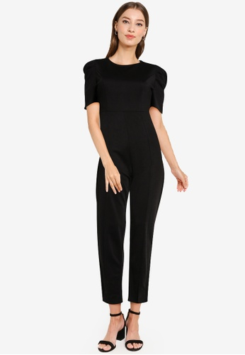 ZALORA WORK black Ruched Sleeves Jumpsuit 48BE4AA453322CGS_1