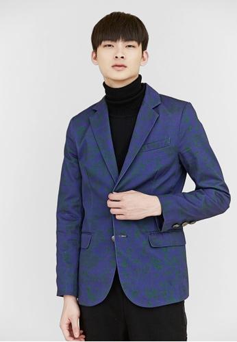 Life8 blue Life8 x Daniel Wong。Totem Diagonal Suit Jacket-03658-Blue LI286AA94BHDMY_1