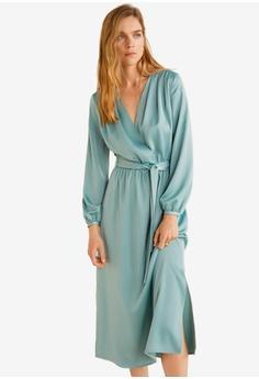 1b7db3a2b0 Mango green Satin Tie Dress D9311AA5716838GS_1