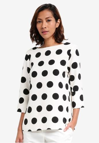 Dorothy Perkins white Spot 3/4 Sleeve Top 6B5B7AA97CEED5GS_1
