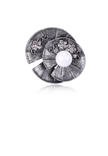 Glamorousky white Fashion Vintage Floral Imitation Pearl Brooch with Cubic Zirconia C858CAC5DD7DCEGS_1