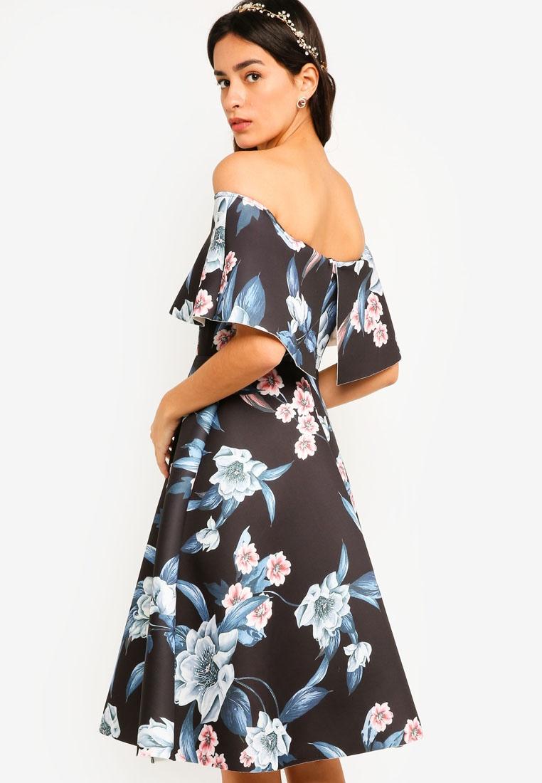 Bridesmaid Flare Tropical Fit Based amp; Dress Black Print Off ZALORA Shoulder TxTfwq4B1