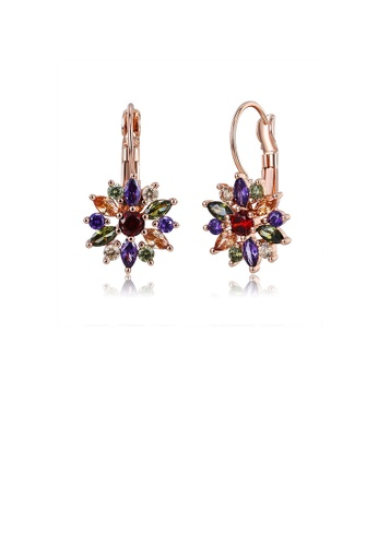 Glamorousky silver Fashion Bright Plated Rose Gold Flower Earrings with Colorful Cubic Zirconia DF850ACD9181CDGS_1