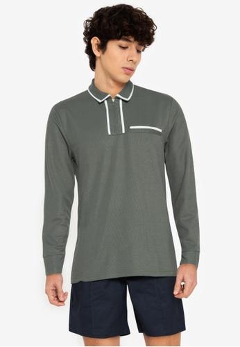 ZALORA BASICS green Contrast Trim Long Sleeve Polo Tee 18BCFAA042492CGS_1