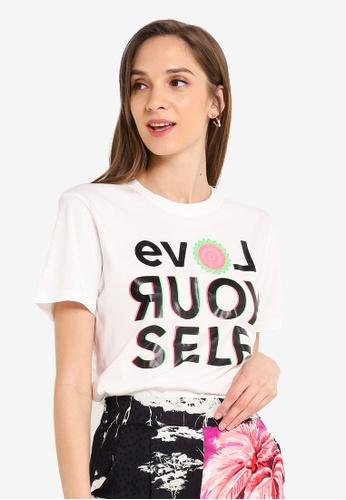 Desigual white Love Yourself T-shirt CEF05AA3CB9D17GS_1