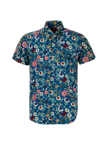Valentino Rudy navy Valentino Rudy Italy Men's Short Sleeve Slim Fit Navy Printed Shirt (04808-0129-73) 549C0AAC1034BAGS_1
