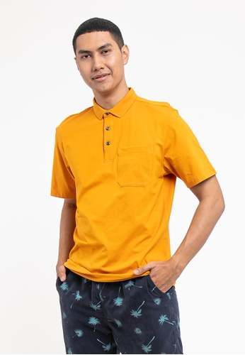 FOREST yellow Forest Cotton Spandex Regular Fit Polo Tee with Pocket - 23620 - Yellow 27F6CAA5BE692EGS_1