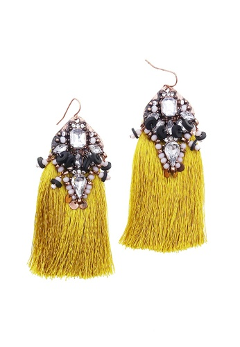 LUCCACAL yellow Fleur Tassels Statement Earring 54D11ACBE3E075GS_1