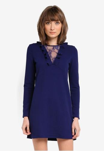 Mango blue Lace Ruffle Dress MA193AA0T1CQMY_1