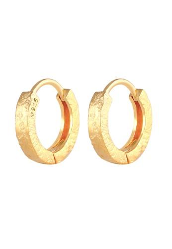 Elli Germany gold Perhiasan Wanita Perak Asli - Silver Anting Creoles Structure Organic Gold Plated 6EA2DAC3234BE4GS_1