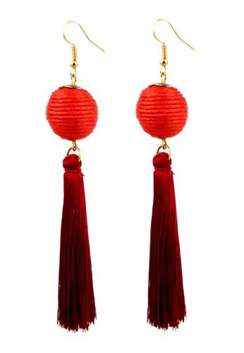 BELLE LIZ red Red Ball Tassel Gorgeous Earrings 6ECE6AC832F757GS_1
