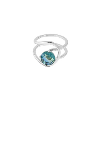 Glamorousky blue 925 Sterling Silver Simple Personality Double-layer Geometric Lines Blue Cubic Zirconia Adjustable Ring 43BC0ACE001DB1GS_1