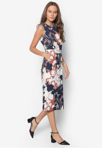 印花裹飾zalora 評價連身裙, 服飾, 洋裝