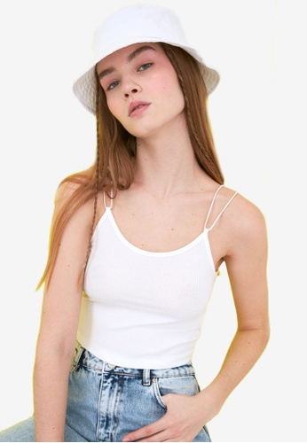 Trendyol white Strappy Cropped Tank Top 48445AACD8F405GS_1