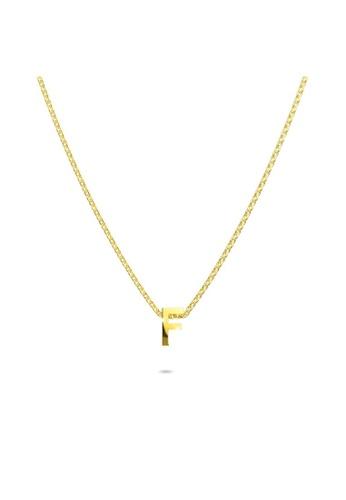 Bullion Gold gold BULLION GOLD Initials Brick Alphabet Letter Necklace Gold Layered Steel Jewellery  - F 9CD84ACCCD5C10GS_1