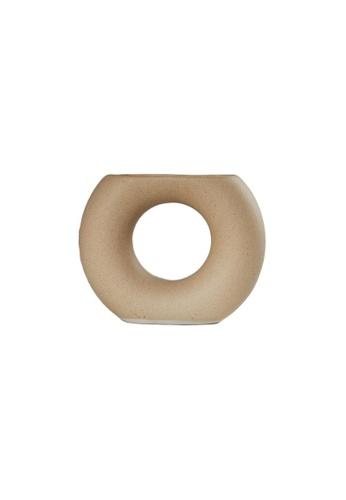DILAS HOME beige Half Moon Scuplure Vase (Beige) 90924HL45B079DGS_1