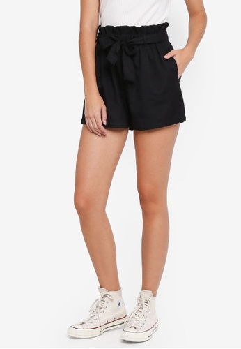 Factorie black Paperbag Tie Shorts 3AB67AA3D59B94GS_1