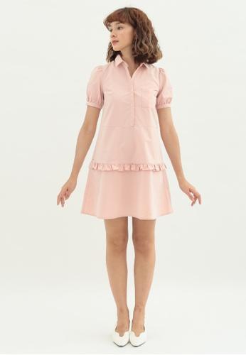 Love Knot pink Pansy Shirt Dress with Ruffles (Pink) 6A19BAA4A151BEGS_1