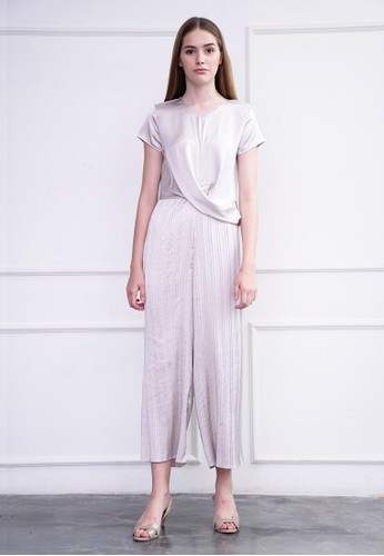 MILLE white and silver Isabelle jumpsuit silver E39ABAA8971816GS_1