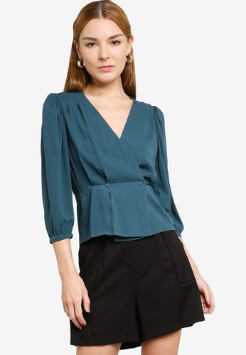Origin by Zalora green 100% Recycled Polyester Relaxed Wrap Blouse 0AC9BAAAAF3A5DGS_1