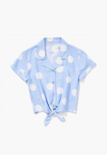 FOREVER 21 blue Knotted Polka Dot Shirt 59782KA9B81E6AGS_1