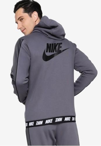 Nike grey Sportswear Men's Full-Zip Fleece Hoodie 585BBAA39DA8ECGS_1