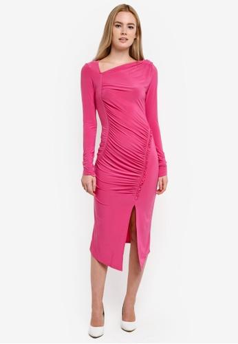 Miss Selfridge pink Pink Soft Touch Midi Bodycon Dress MI665AA0RF1SMY_1