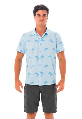 69 SLAM blue MEN PALM BLUE JAMIE RASH SHIRT 4921CAA1A80090GS_1