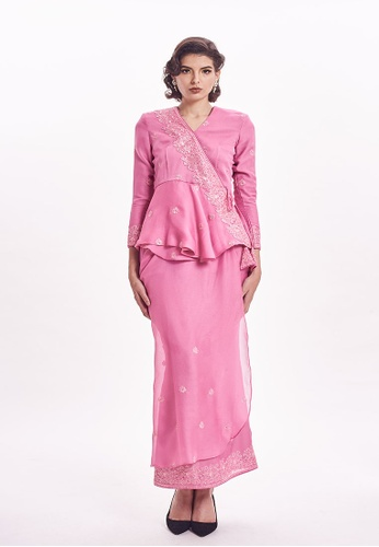 Marilyn Modern Kurung Kimono Cranberry Pink from Ann Khan Exclusive in Pink