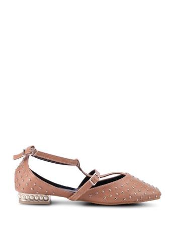 SPiFFY brown Embellished Strap Flats 376EASH89839D0GS_1