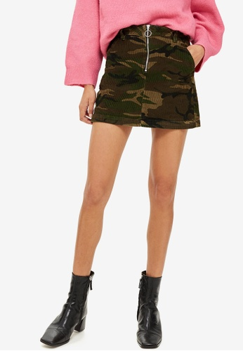 TOPSHOP green Petite Camouflage Corduroy Skirt 81A79AAFE02FFBGS_1